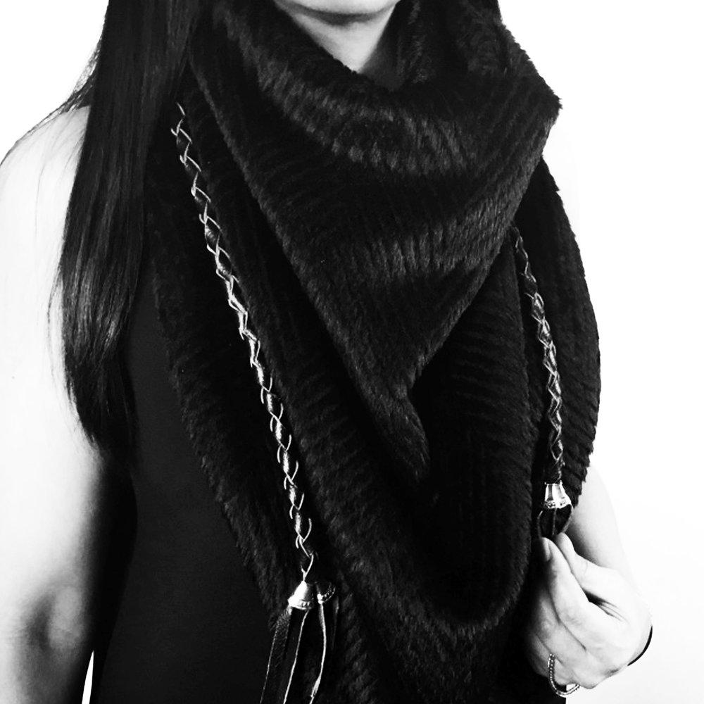 MANDI  100% Alpaca Wool | V-shaped | Leather Tassels  $ 200.00