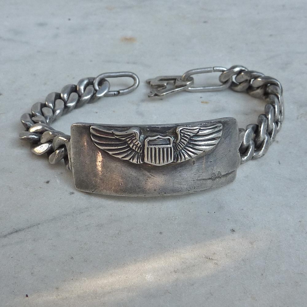 Ww2 Pilot S Wings Silver Id Bracelet Worn Over Time