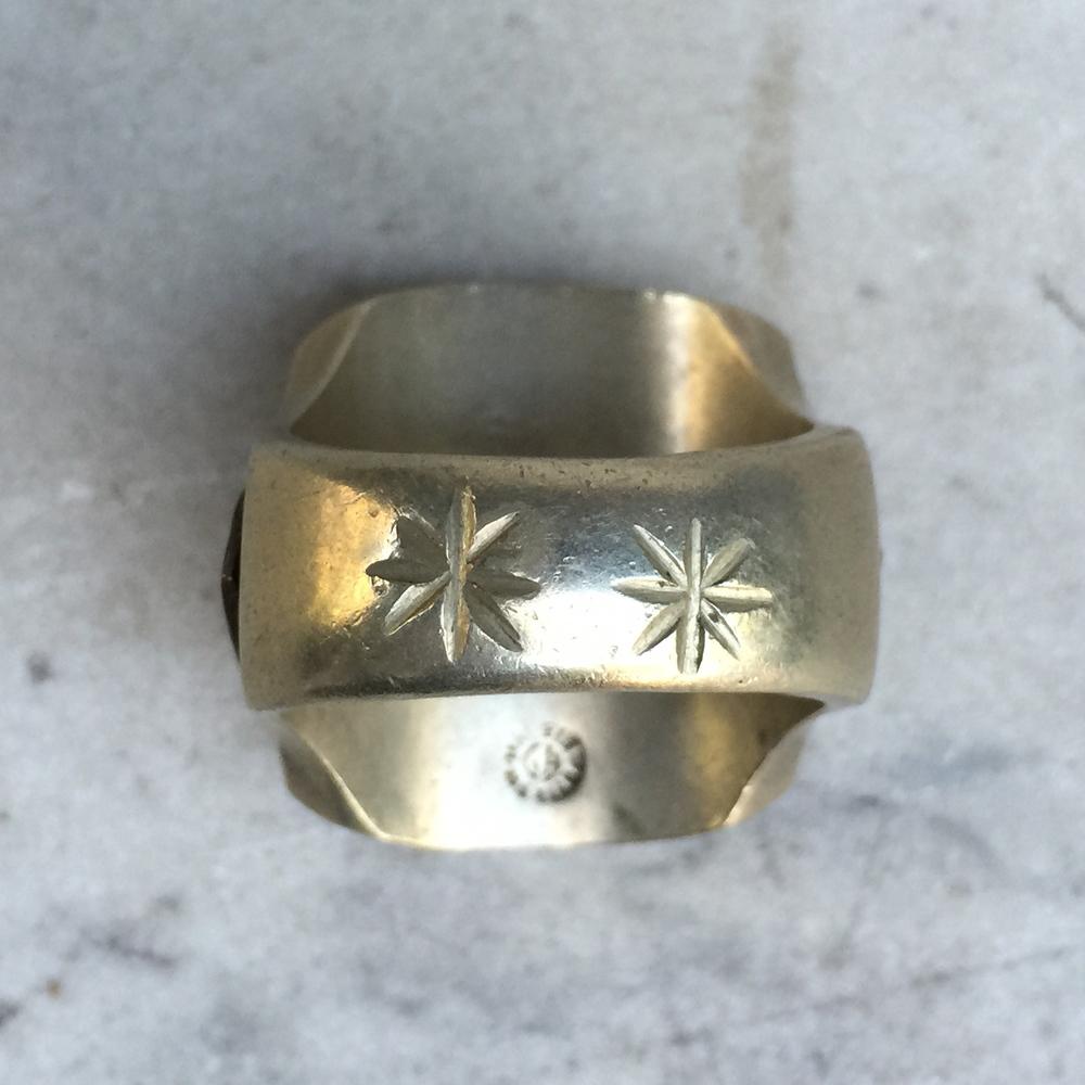 Vintage Aztec Indian Warrior Enameled Mexican Biker Ring