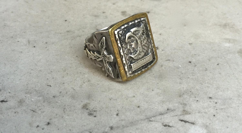 vintage aztec eagle warrior silver u0026 brass mexican biker ring