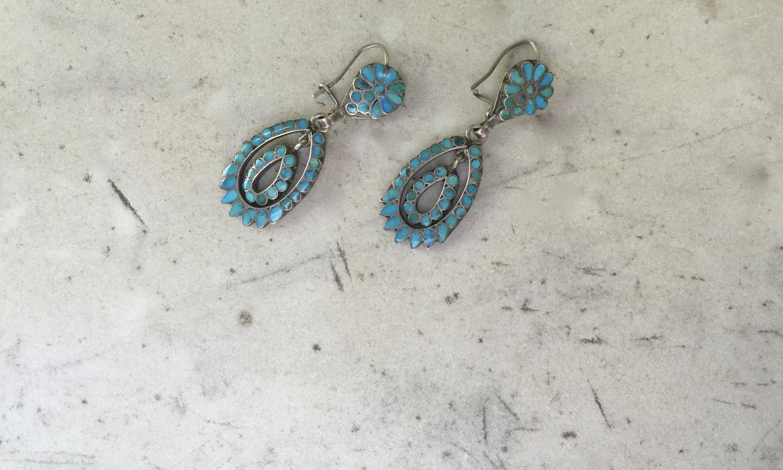 Vintage Dishta Zuni Flat Inlay Turquoise Silver Wire Hook Earrings ...