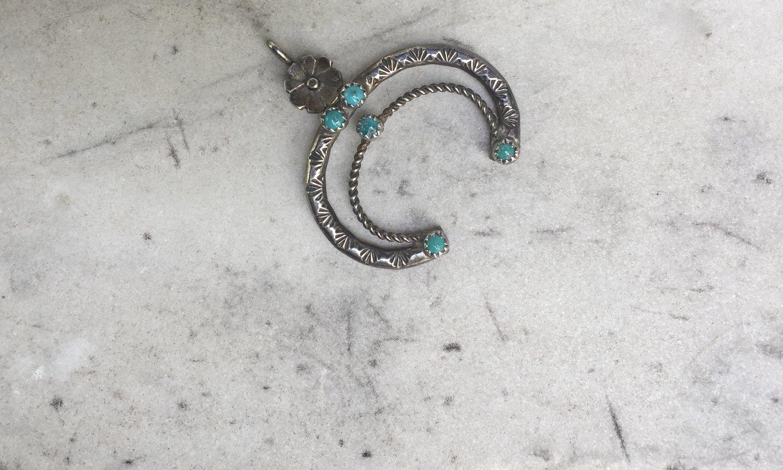 Fred harvey silver turquoise naja pendant worn over time fred harvey silver turquoise naja pendant aloadofball Gallery