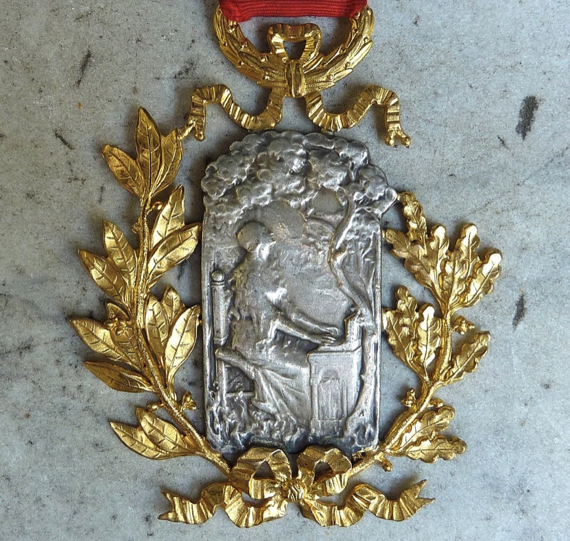 Large 1900's French Musical Medal Saint Cecilia Lady Playing a Harpsichord  Under Trees