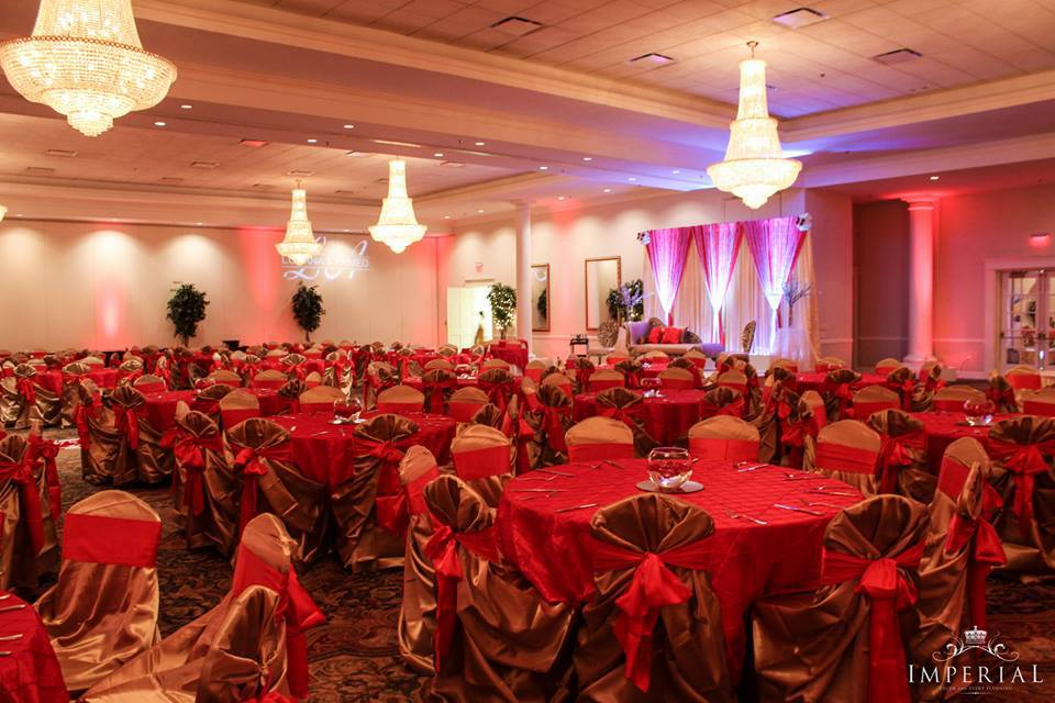 Bold Look Red And Rustic Gold Imperial Decor