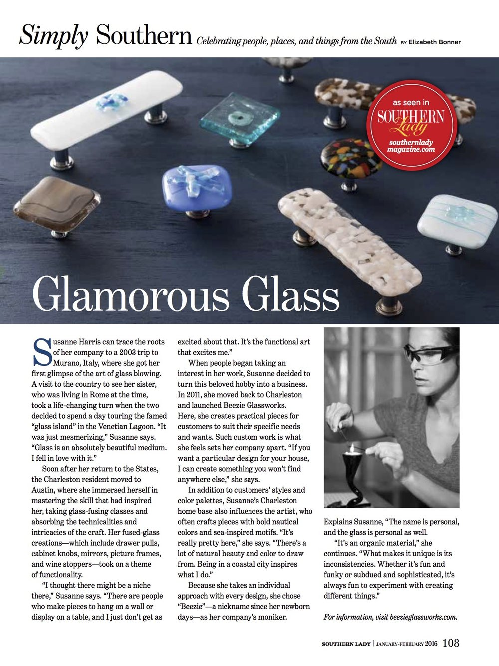 Glamorous Glass article - Southern Lady Magazine Jan 2016 issue