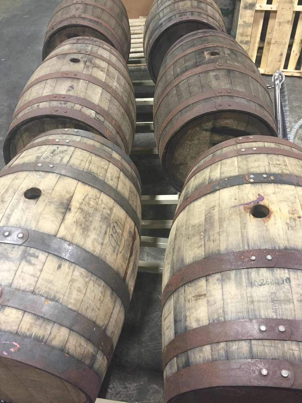 Barrels, freshly emptied of beer for the last time.