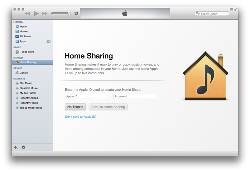 Home Sharing window from iTunes 11.1.13 and Mac OSX Mavericks