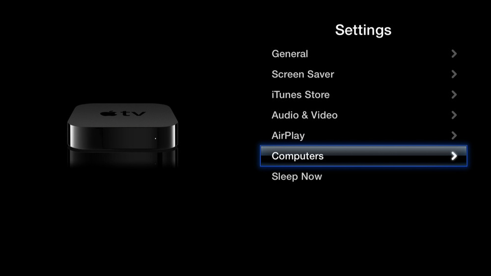 "The view from the ""Settings"" application on a 3rd generation Apple TV"