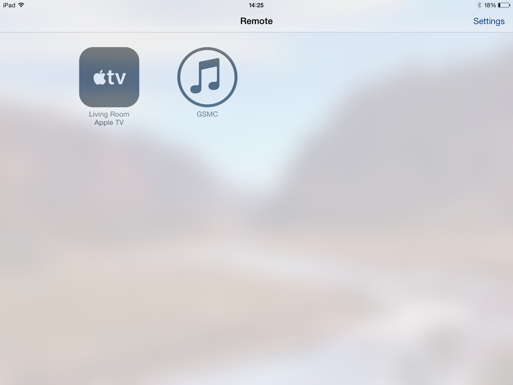 Home screen of the Remote application on an iPad Air