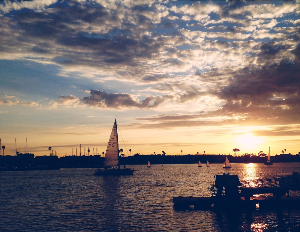 Sailboats at dusk, Long Beach. Created with Afterlight