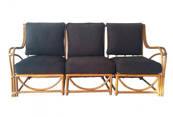 Mid century three-part McGuire-style rattan sectional.