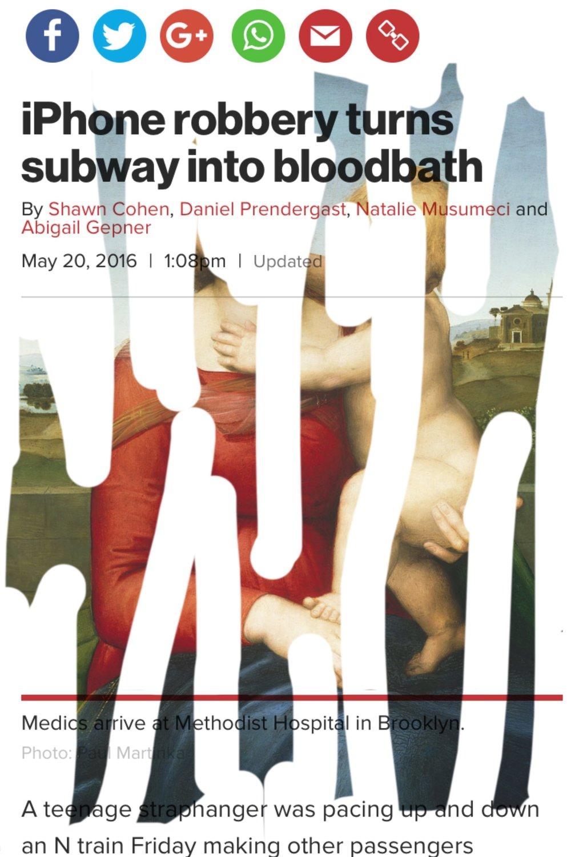 """iPhone Robbery Turns Subway into Bloodbath"", iphone 6S, digital image,2016."