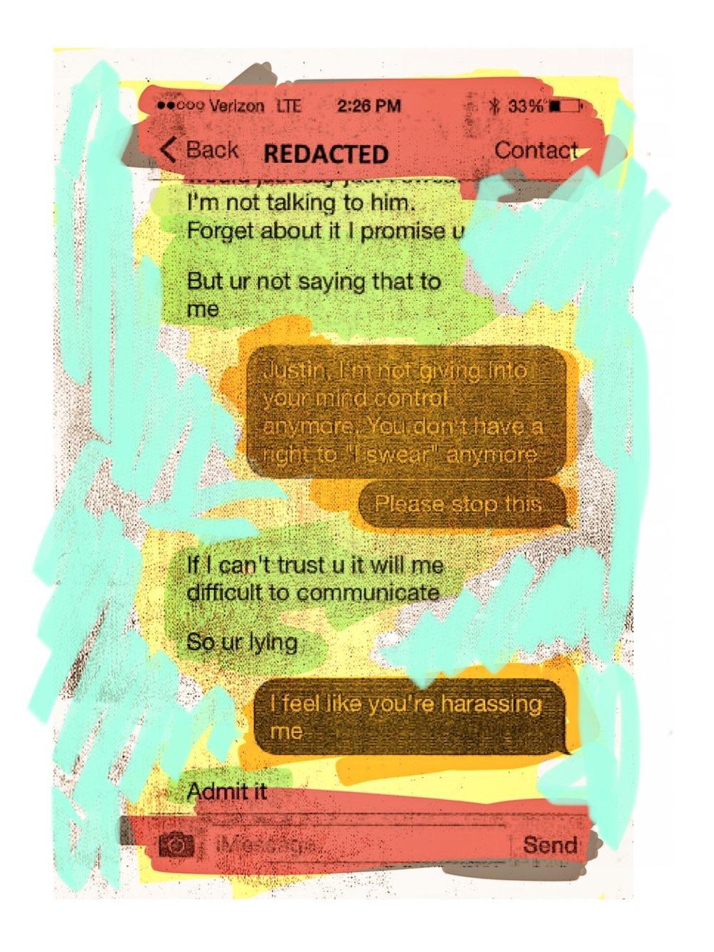 """Texts"", iPhone 6S, digital image, 2016."