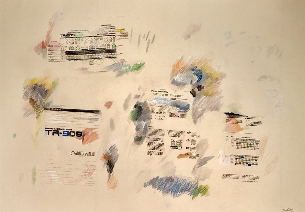"""""""TR-909 instructions"""", 100 cm x 70 cm, mixed media on paper."""