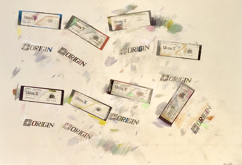 """""""Ultima V, Dungeon disks"""", 100 cm x 70 cm, mixed media on paper."""