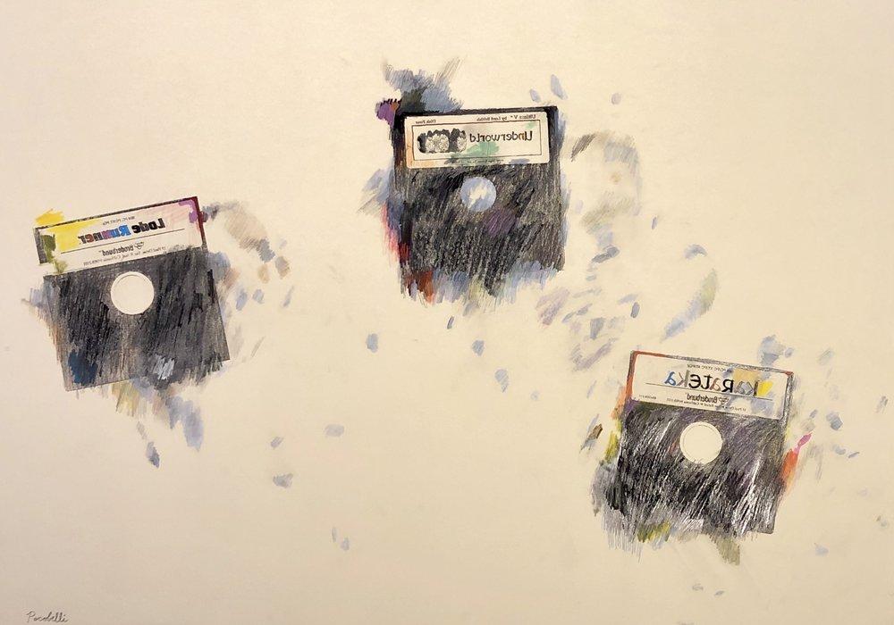 """""""Lode Runner+Ultima V+ Karateka"""", 100 cm x 70 cm, mixed media on paper."""