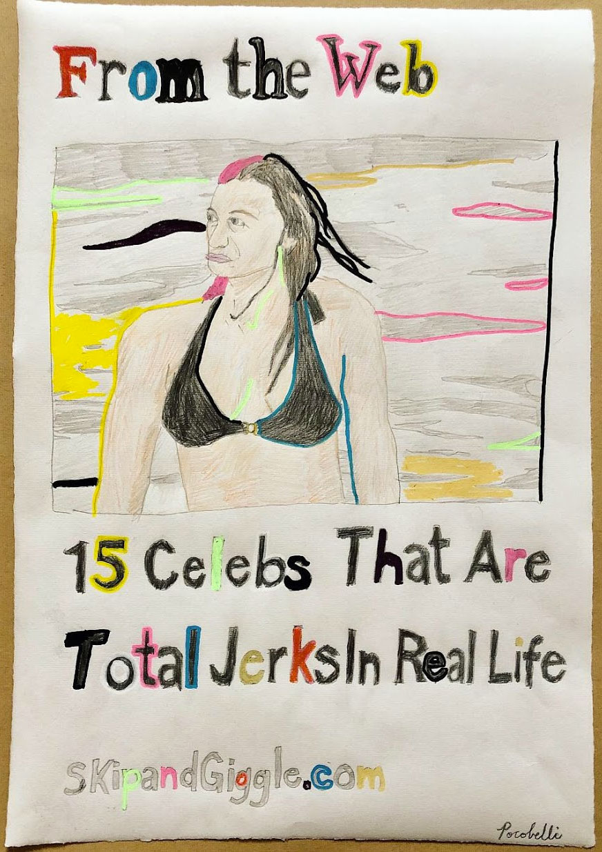 """15 Celebs that Are Total Jerks in Real Life"", 33.5 cm x 48.5 cm, mixed media on paper."