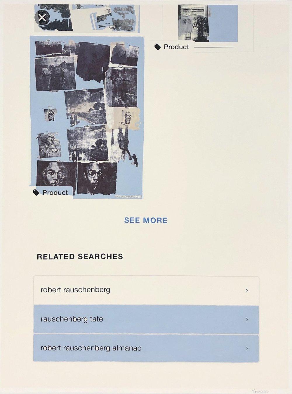 """q=rauschenberg+almanac"", 60 cm x 80 cm, inkjet and acrylic paint on hahnemuhle paper."