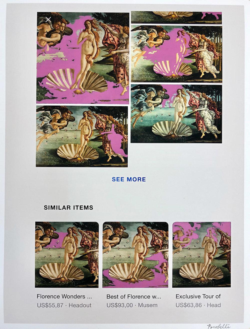 """q=birth+of+venus"", 35 cm x 46 cm, inkjet and acrylic paint on hahnemuhle paper."