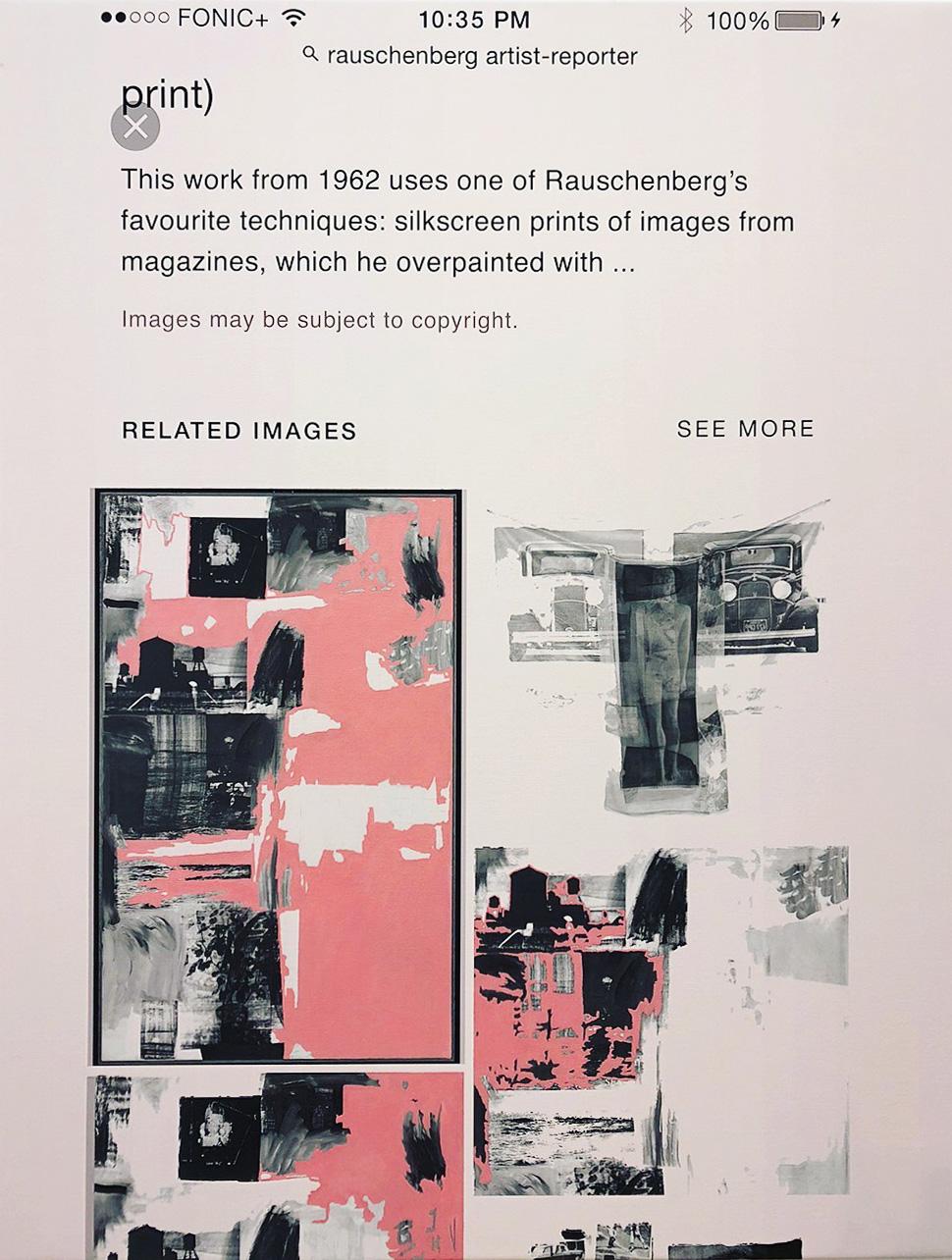 """q=artist+reporter"", 100 cm x 130 cm, inkjet and acrylic on canvas."