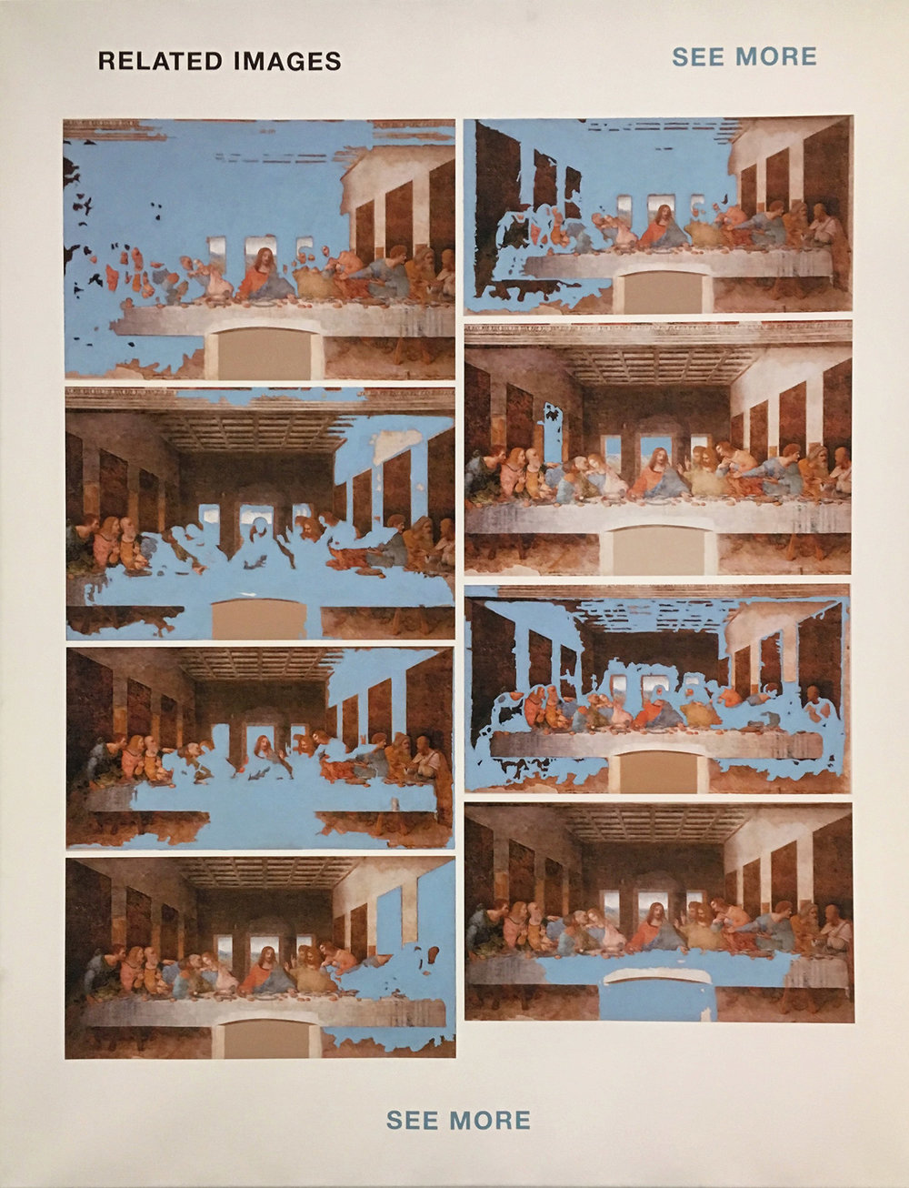 'q=last+supper', 100 cm x 130 cm, inkjet and acrylic paint on canvas.