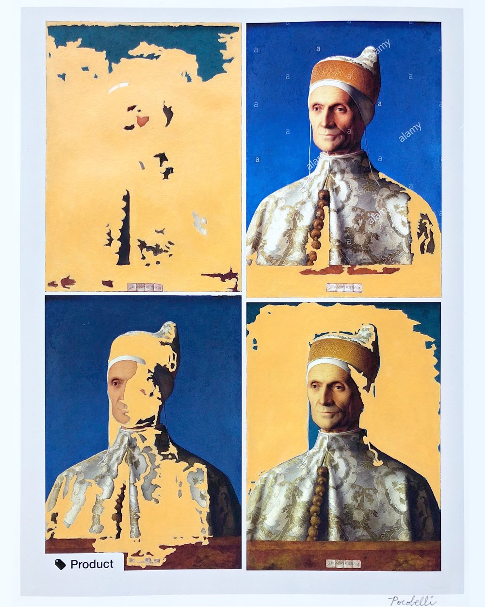 """q=bellini+doge"", 35 cm x 45 cm, inkjet and acrylic on canvas."