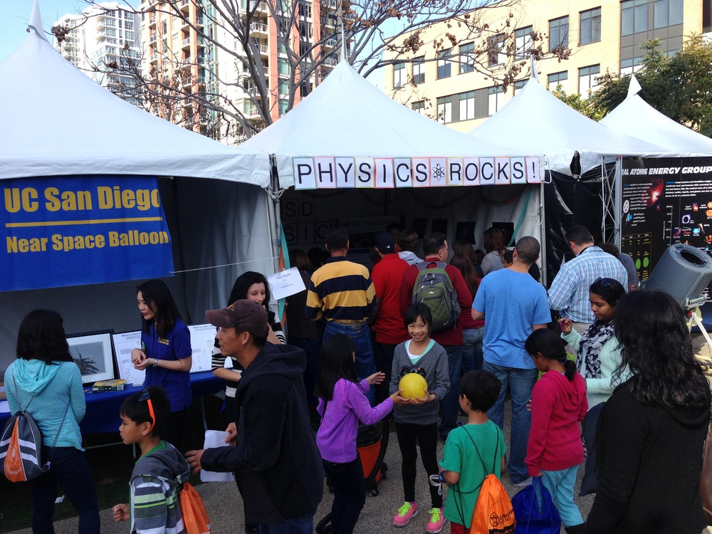 The UCSD Physics booth! Physics Rocks.