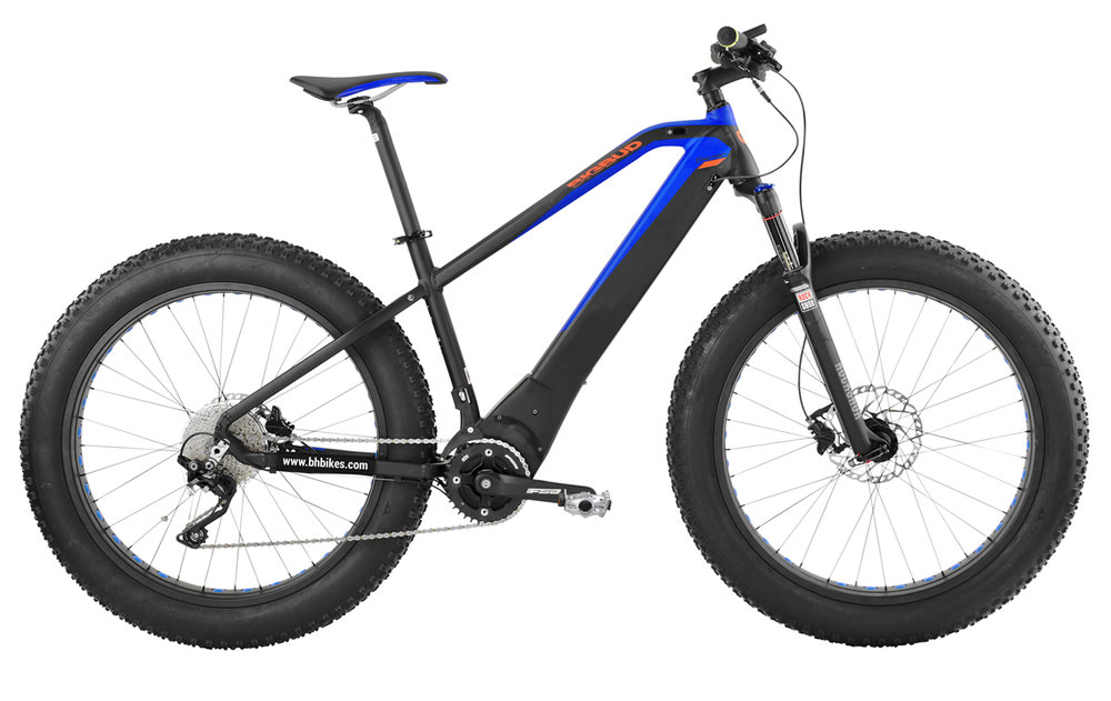 Atom Big Bud Pro - $4099 A new edition to our Fat Tire offerings, use of the Brose mid-drive system allows the ATOM fat tire to employ the Rock Shox Bluto suspension fork.  It's also blue and black so you can still go big even if you don't like the neon green of the EVO Big Bud.