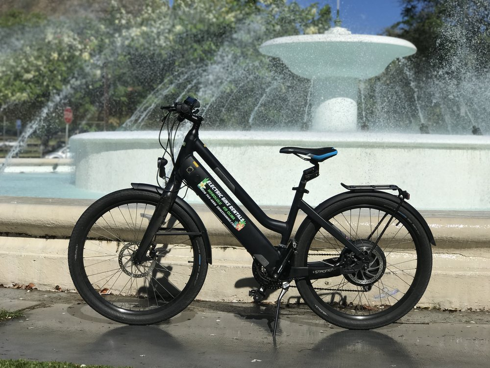 "Stromer ST1 ""Rolls-Royce"" of electric bikes   Available at our Honolulu Bike Shop   Pedal Assist  Top Speeds: 28 MPH         30-50 Miles/Charge Comes with ""Body Float"" suspension seat post"