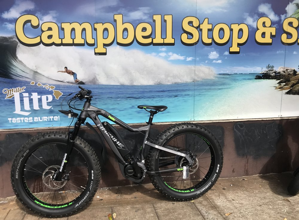 Haibike FatSix Electric Mountain Bike- Medium Size Frame   Available at our   Honolulu and Kapolei Bike Shops   25-50 mile battery range for all day rides on the beach