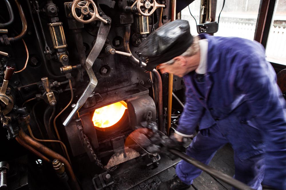 shoveling the coal