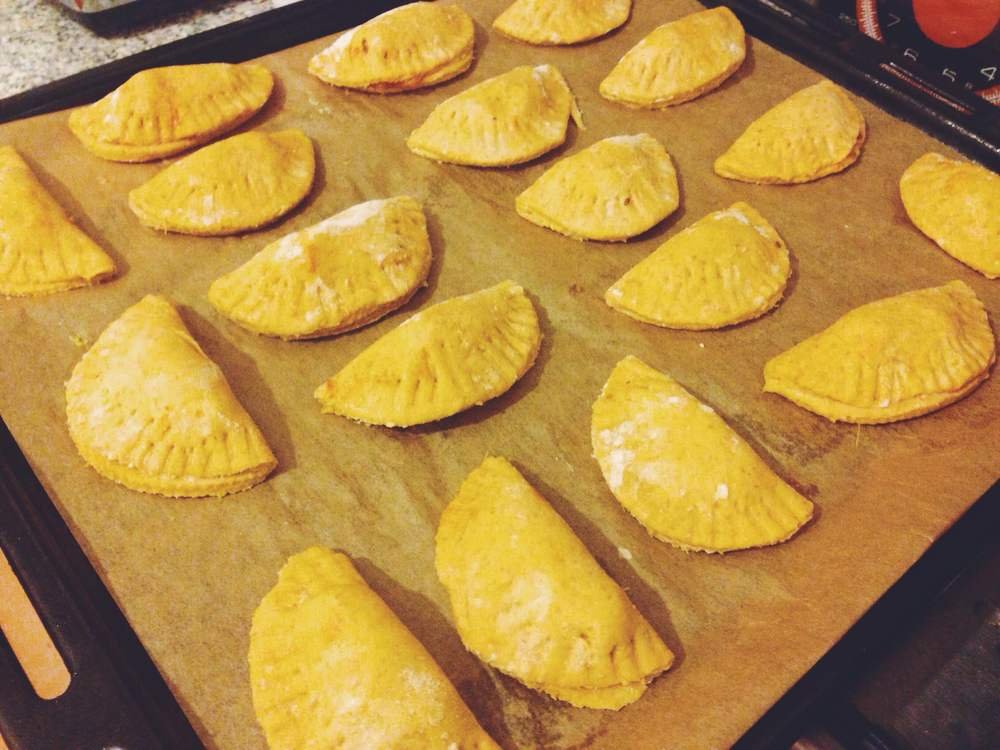 Sweet potato empanadas with tempeh chilli filling