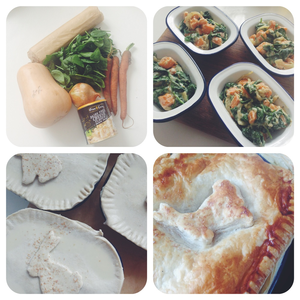 butternut squash and spinach vegan cheese pie