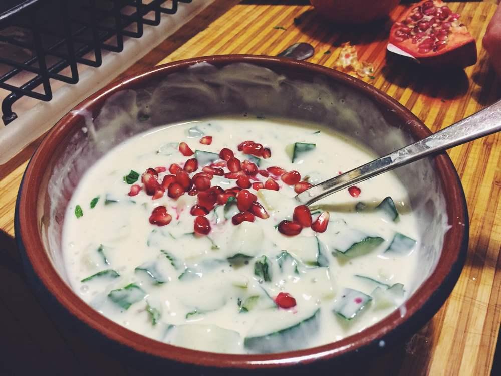 pomegranate, mint and cucumber raita