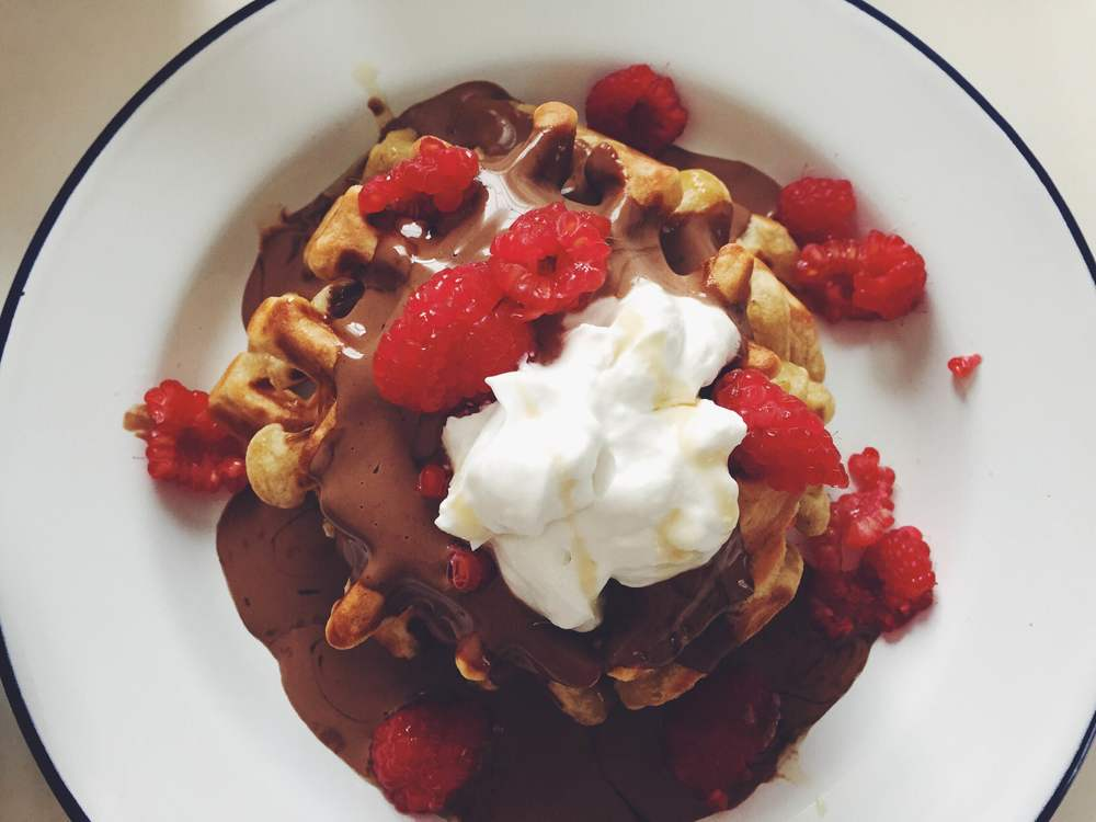 chocolate sauce waffles