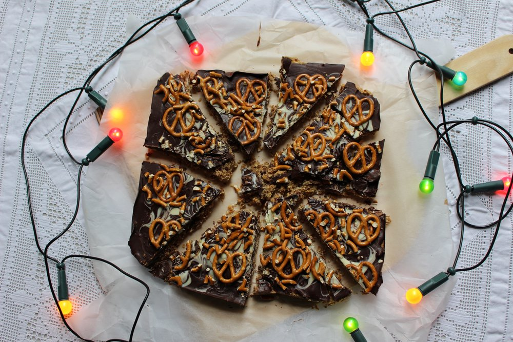 pretzel and salted caramel squares