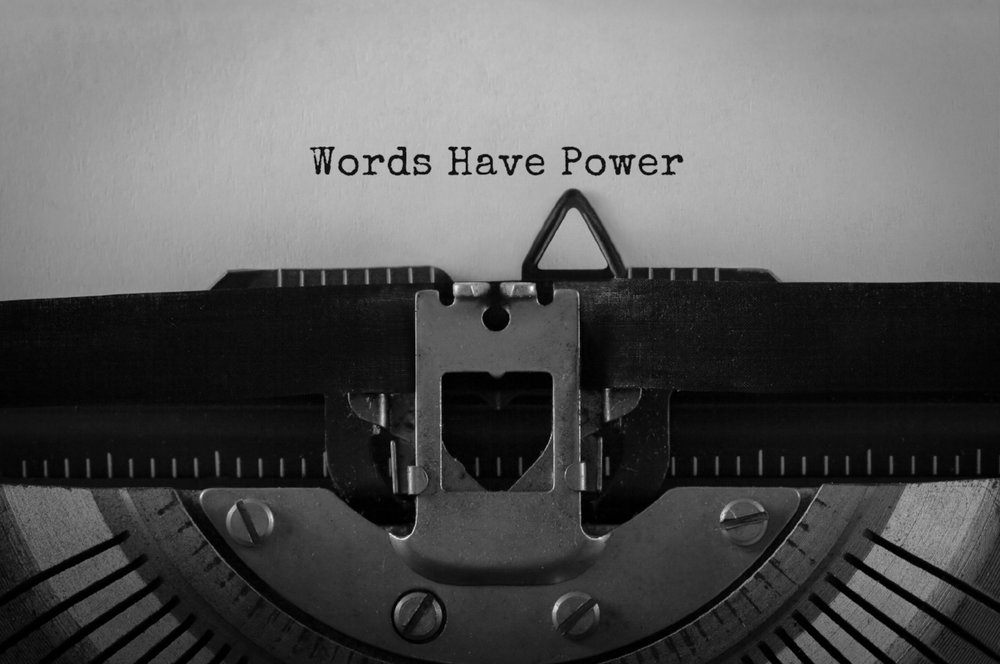 Words Have Power typed using an old typewriter