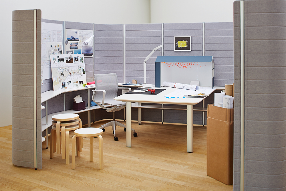 The making of the exhibition presented in one of the workbays —Photographer: Lorenz Cugini © Vitra