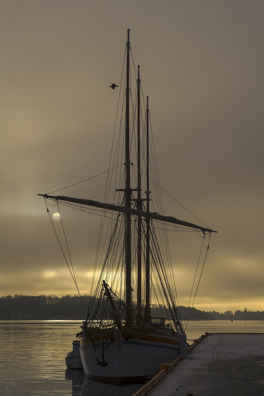 En båt som ligger i havn med beslåtte seil