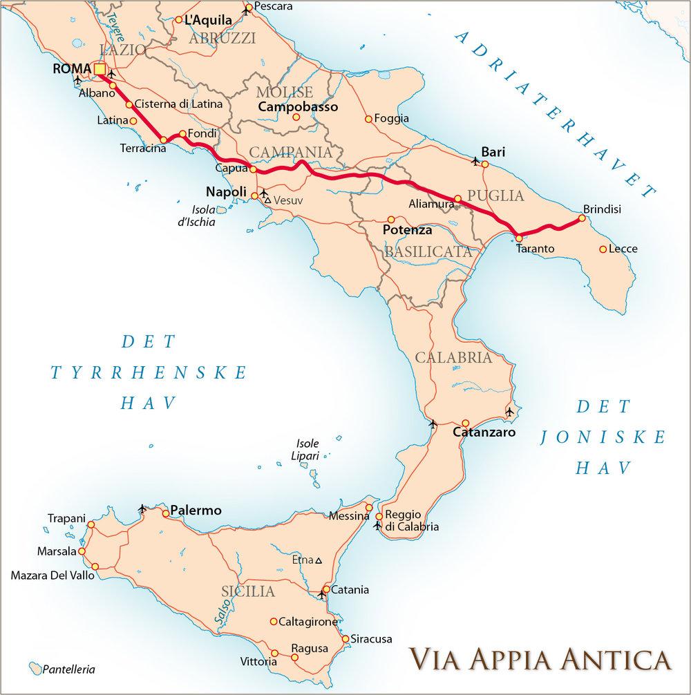 Via Appia Antica tegnet inn på et kart over dagens Sør-Italia.