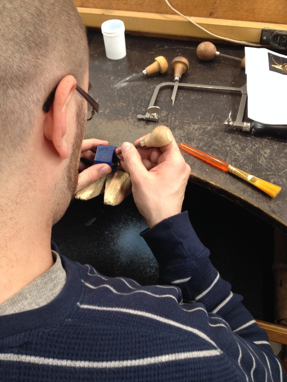 Dave carefully carving wax with gravers