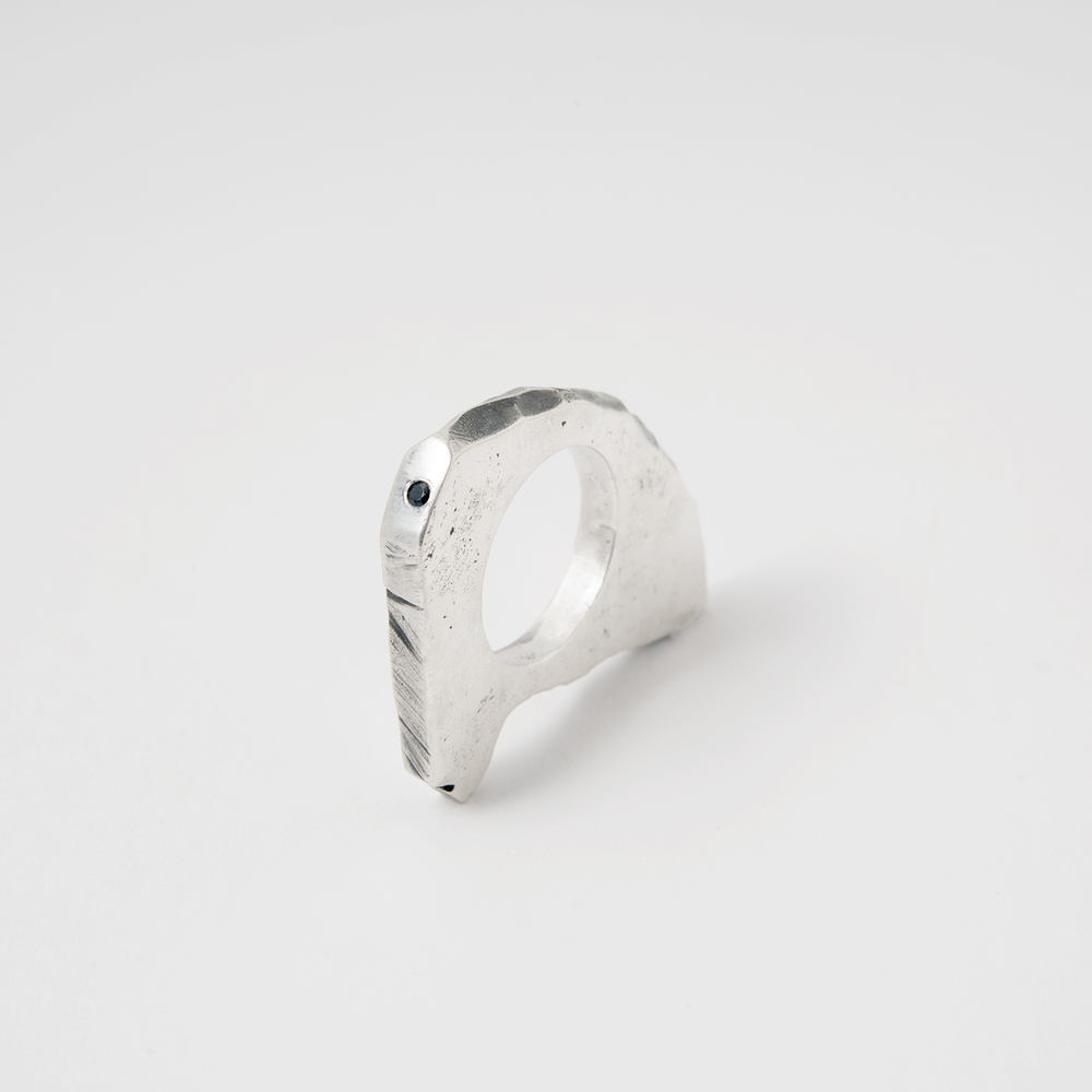 Kate Ward 3: Lost Wax Cast in Sterling Silver with a gypsy set black spinel.