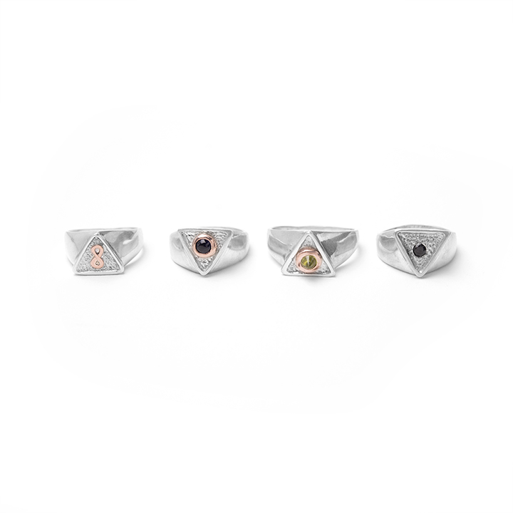 Mystical Signet Rings: Rose gold infinity, rose gold and iolite, rose gold and peridot, black spinel