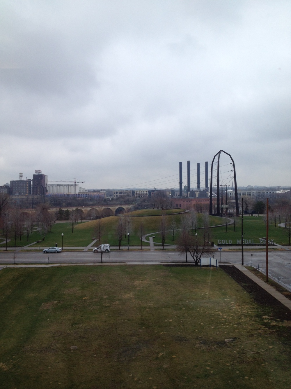 Room with a view: Looking toward the Mississippi River from my hotel room