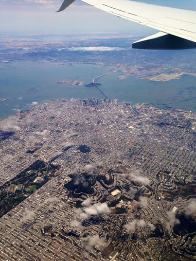 A photo Elizabeth took during our decent into San Francisco