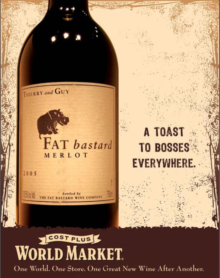 In-store POS poster series for World Market's wine section taking advantage of some of the products' offbeat names.