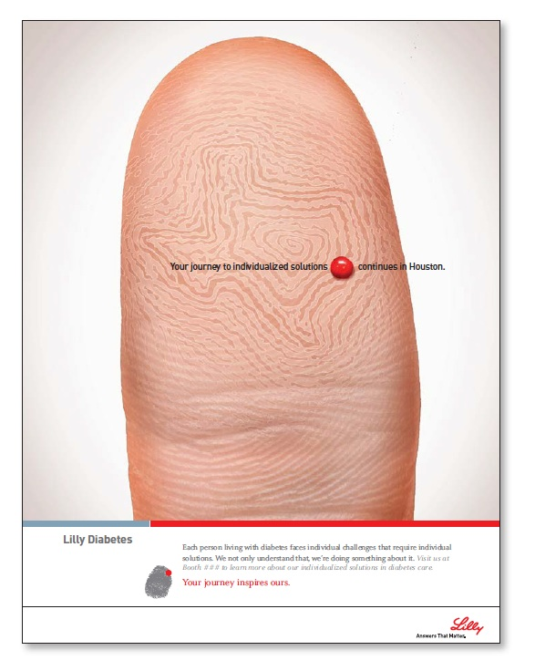 """Eli Lilly developed a knack for resonating with doctors who specialize in diabetes. In this ad for a diabetes congress journal, the """"finger stick"""" that diabetes patients have to endure daily is immediately recognized."""
