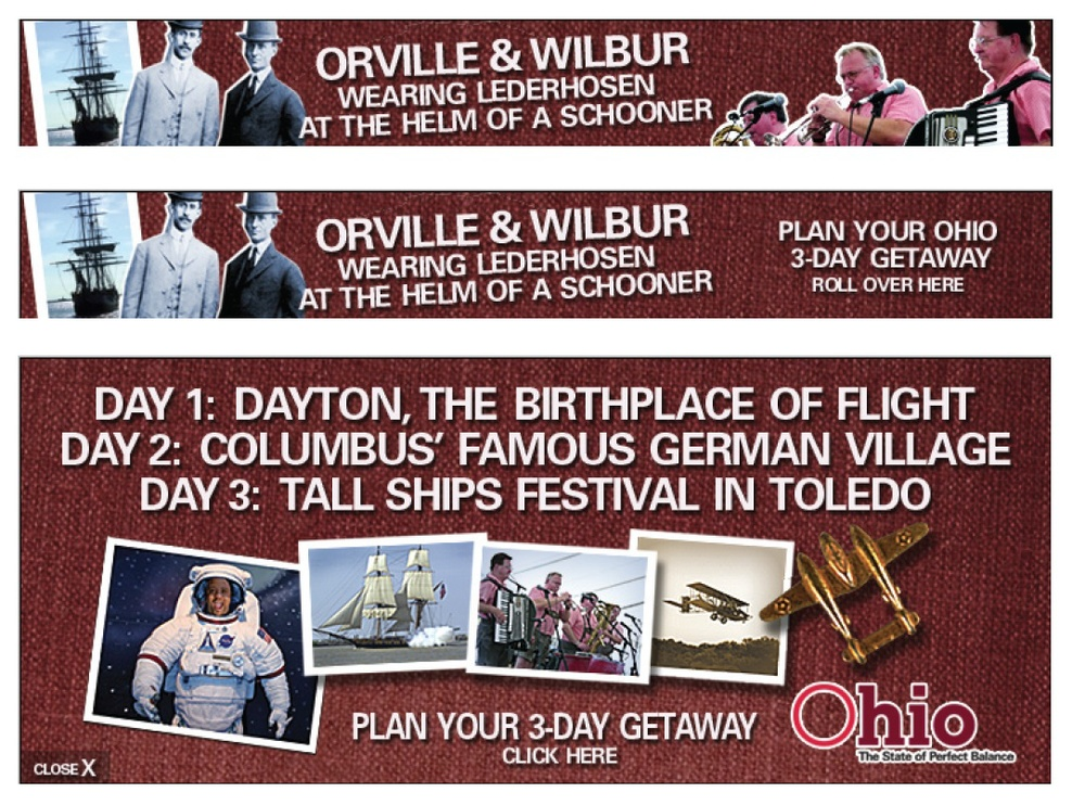 Ohio tourism Web banner sequence.