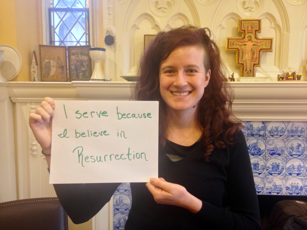 """I serve because I believe in Resurrection"" - Eliza Marth, Micah Fellow at St Paul's Episcopal Church, Brookline & Brookline intentional community"