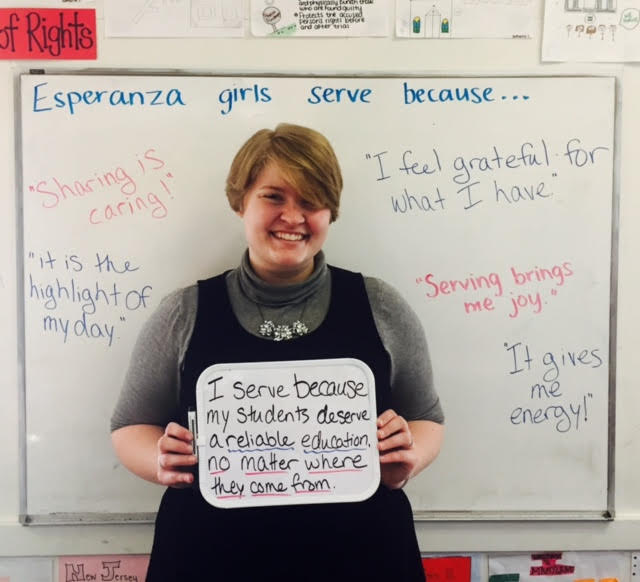 """I serve because my students deserve a reliable education, no matter where they come from."" - Madison Clark, First-Year Esperanza Teaching Fellow at Esperanza Academy & Lawrence intentional community"